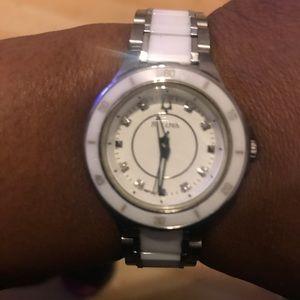 Bulova Stainless st. ceramic diamond accent watch